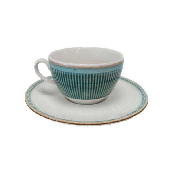 xicara de cha com pires ceramica toscana azul 810300321 corona casa cafe e mel
