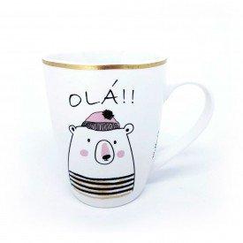 caneca de ceramica bichinhos 340ml urso wx7601 ur casa cafe e mel 1