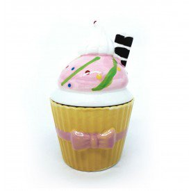 pote de porcelana cupcake com tampa amarelo 73555 a casa cafe e mel 1