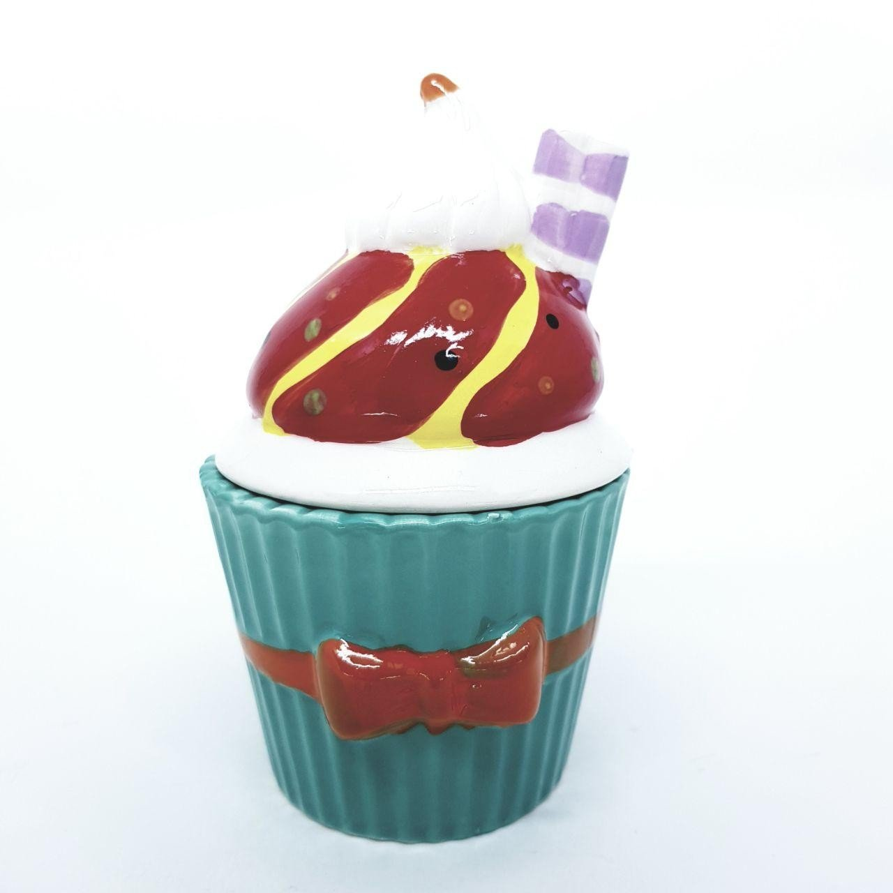 pote de porcelana cupcake com tampa verde tiffany 73555 vt casa cafe e mel 1