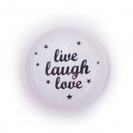 mini prato decorativo redondo de porcelana live laugh love 73413 lll casa cafe e mel
