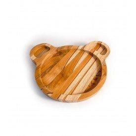 prato infantil de madeira teca urso 6633 wood love casa cafe e mel