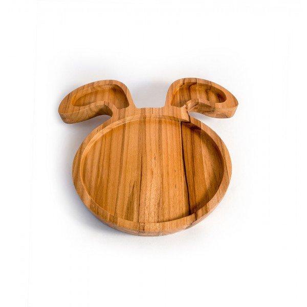 prato infantil de madeira teca coelho 6636 wood love casa cafe e mel