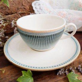 xicara de cha com pires ceramica toscana 6 pecas azul corona casa cafe e mel