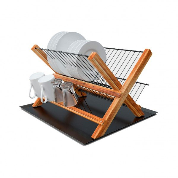 escorredor dobravel madeira teca com bandeja 607 stolf casa cafe e mel