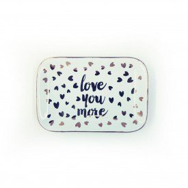 mini prato decorativo retangular de porcelana love you more 73412 love casa cafe e mel