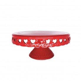 prato com pe ceramica vermelho coracao vazado o29cm 21 195co silveira casa cafe e mel 1