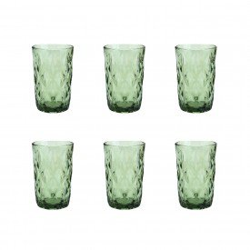 jogo de copo alto vidro diamond verde 6499 lyor casa cafe e mel 4