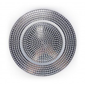sousplat metalizado detalhe bolinhas individual prateado 73400 p casa cafe e mel 1