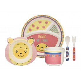 conjunto refeicao infantil me lhama 075007 oxford casa cafe e mel 1