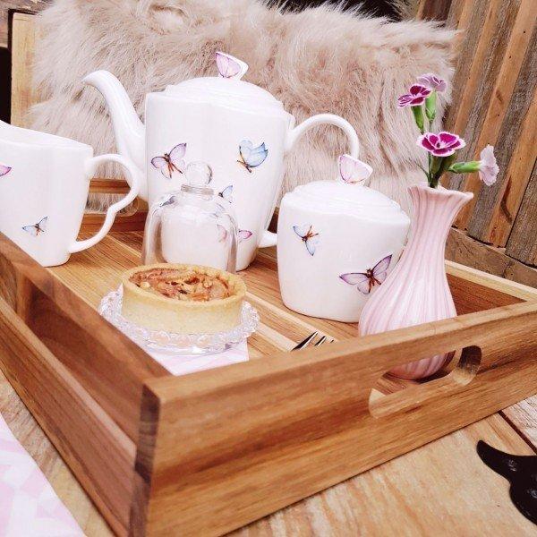 bandeja teca de madeira stolf pequena 39 5x29cm casa cafe e mel