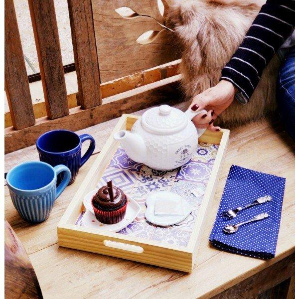 bandeja de madeira para cafe da manha 25x40cm estampada stolf casa cafe e mel