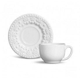 xicara de cha e cafe ceramica esparta 160ml 6 pecas branco 61586 porto brasil casa cafe e mel
