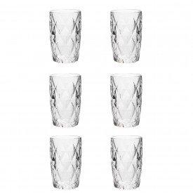 jogo de copo alto vidro diamond transparente 350ml 6476 lyor casa cafe e mel 4