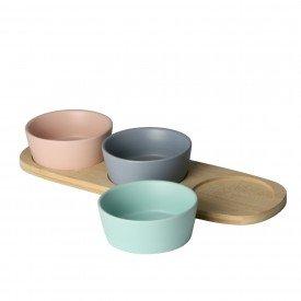 petisqueira 3 pecas ceramica com bandeja de bambu 7974 lyor casa cafe e mel