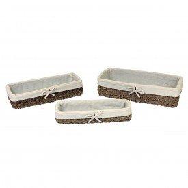 cesto organizador forrado tecido 3 pecas terra em fibra natural bege 24432 fullfit casa cafe e mel