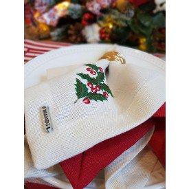 guardanapo de tecido linhao off white ramo natal 003170 mameg casa cafe e mel 1