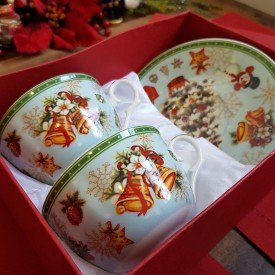 xicara para cafe porcelana natal 2 pecas sinos 119 069 casa cafe e mel 1