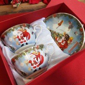 xicara para cafe porcelana natal 2 pecas papai noel 119 070 casa cafe e mel 1