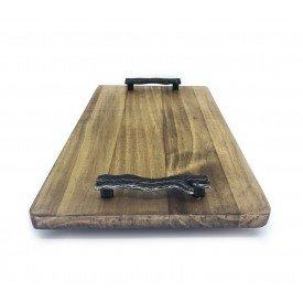 bandeja de madeira rustica pegador de metal 7502 1 casa cafe e mel 7