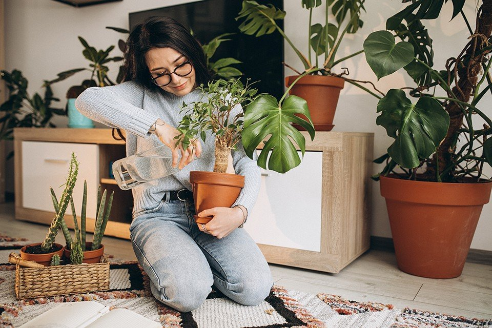 young woman cultivating plants at home 2 1