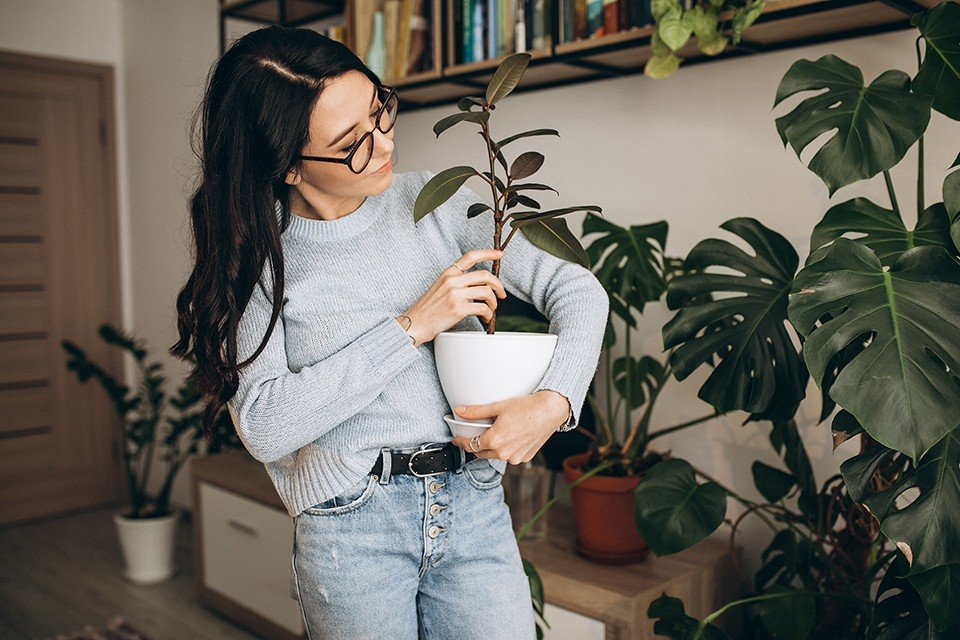 young woman cultivating plants at home 3 1