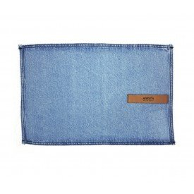 jogo americano jeans claro desfiado couro individual 01610 merkatto casa cafe mel 1