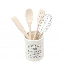 conjunto de utensilios c suporte de ceramica sweet home 3687 rojemac casa cafe mel 1