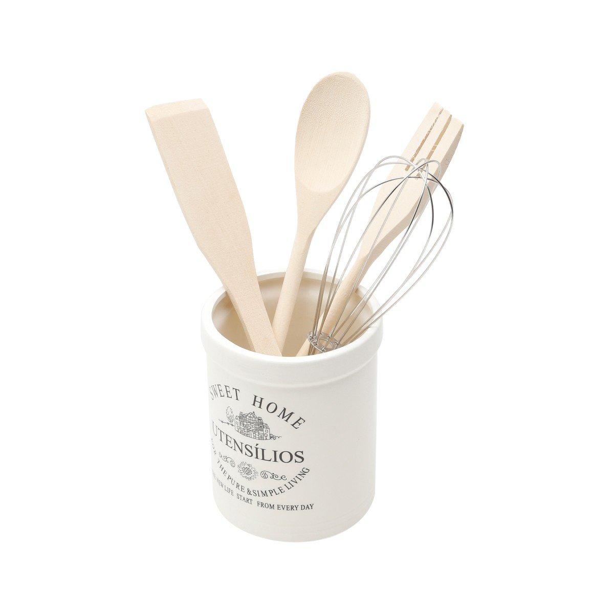 conjunto de utensilios c suporte de ceramica sweet home 3687 rojemac casa cafe mel 2