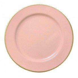 sousplat para cha de plastico rosa com dourado 61242 bon gourmet casa cafe mel