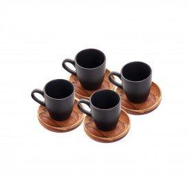 xicara de cafe com pires de madeira teca woodart casa cafe mel 1