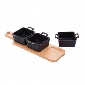 petisqueira porcelana preta com bandeja 27815 bon gourmet casa cafe mel 1
