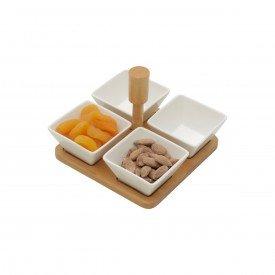 petisqueira porcelana 4 pecas e suporte bambu leaves 35503 bon gourmet casa cafe mel 4