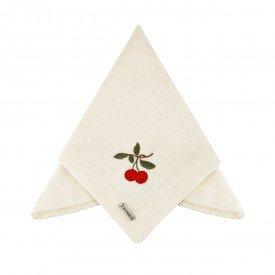 guardanapo de tecido linhao off white bordado cereja 001043 mameg casa cafe e mel