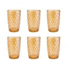 jogo de copo alto vidro lyor bico de abacaxi 350ml ambar 7396 lyor casa cafe mel 5