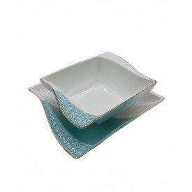 conjunto petisqueira com filete dourado verde e branco 2 pecas 062028 pracaza casa cafe mel