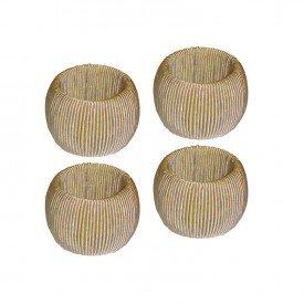 argola para guardanapo 4 pecas plastico e algodao l hermitage dourado 24433 full fit casa cafe mel
