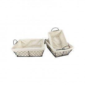 cesto organizador ferro e tecido 3 pecas dynasty bege 26208 full fit casa cafe mel