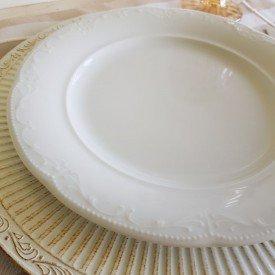prato raso de porcelana mimo style 6 pecas branco casa cafe e mel