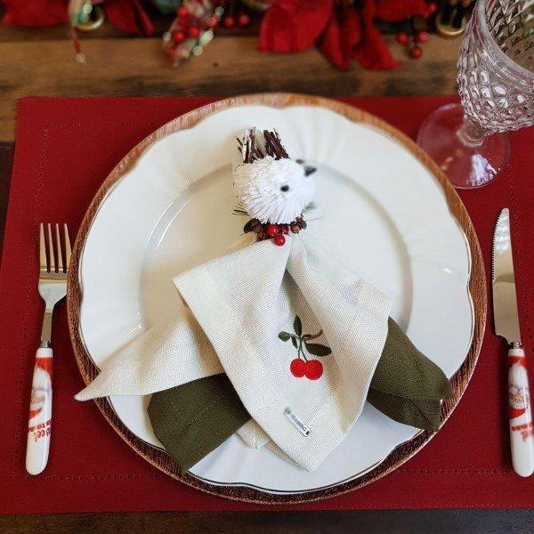 guardanapo tecido linhao off white bordado cereja casa cafe e mel