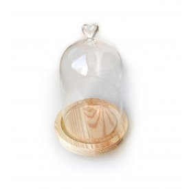 redoma de vidro coracao com base em madeira dec01134 we make casa cafe mel 1