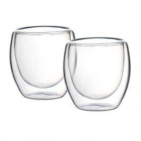 jogo de 2 copos parede dupla em vidro borossilicato 90ml 25648 full fit casa cafe mel