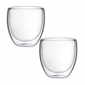 jogo de 2 copos parede dupla em vidro borossilicato 240ml 25649 full fit casa cafe mel 2