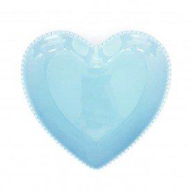 prato coracao ceramica azul detalhe bolinha 19x20cm z1525 a casa cafe mel