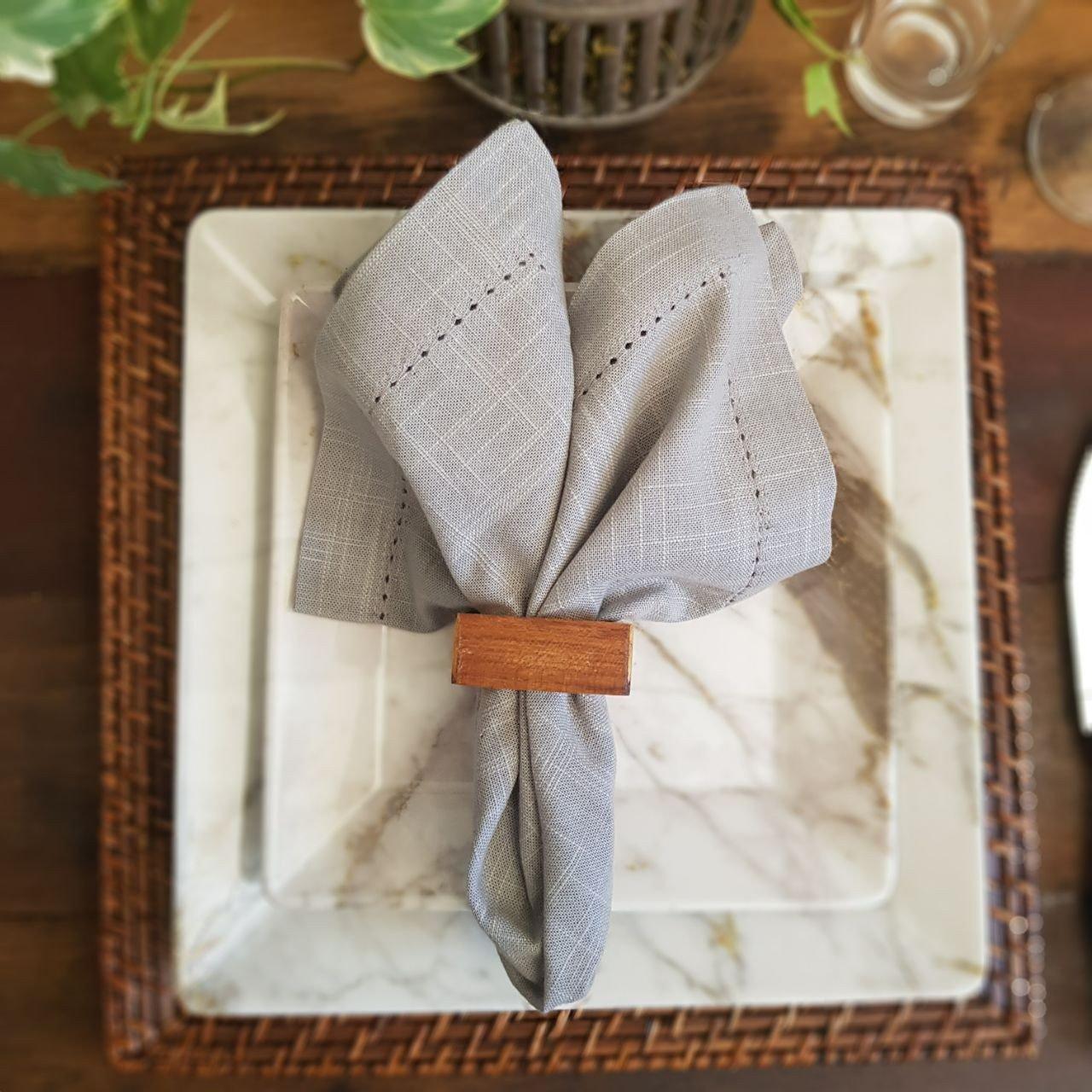 argola para guardanapo madeira teca quadrado 4 pecas rojemac casa cafe e mel 7