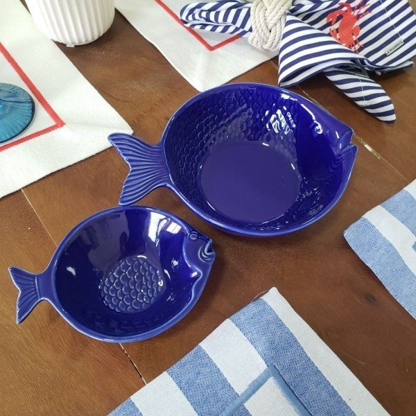 bowl de ceramica peixw ocan azul 20x14cm bon gourmet casa cafe e mel