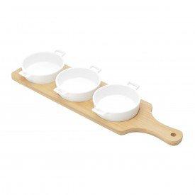 petisqueira porcelana 3 pecas e suporte bambu 27564 bon gourmet casa cafe mel 2