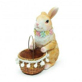 coelho decorativo em resina primavera marrom 1014718 cromus casa cafe mel