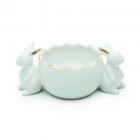 ovo decorativo coelho duplo pascoa ceramica filete dourado 1014760 cromus casa cafe mel