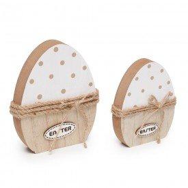 ovo de madeira decorativo 2 pecas 1826665 cromus casa cafe mel